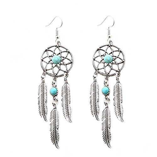 hullonguuo Folk Women Turquoise Dream Catcher Feather Earrings Jewelry Decor/Silver Home/Wall/Bed - Jewelry Catcher