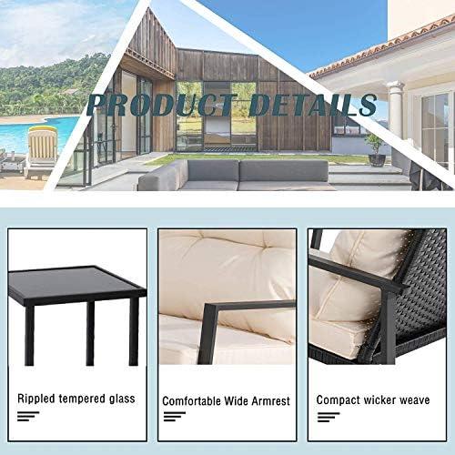 51AuZaJRP6L. AC Greesum GS-3RRCSBG 3 Pieces Patio Furniture Set, Glass Coffee Table, Beige    Greesum 3 Pieces Rocking Patio Furniture Sets