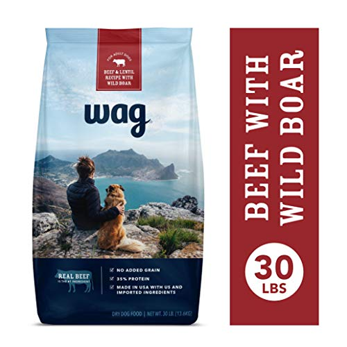 Amazon Brand – Wag Dry Dog Food Beef & Lentil Recipe with Wild Boar (30 lb. Bag)