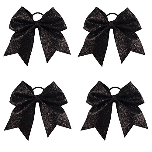 heer Bows With Ponytail Holder Girls Sparkle Cheer Bow (Black Glitter Bow)