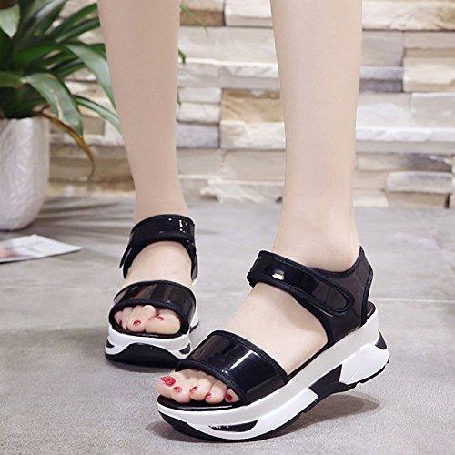 de negro rosa Black Creepers ZHZNVX confort PU sandalias Zapatos verano de mujer para cwqT6A