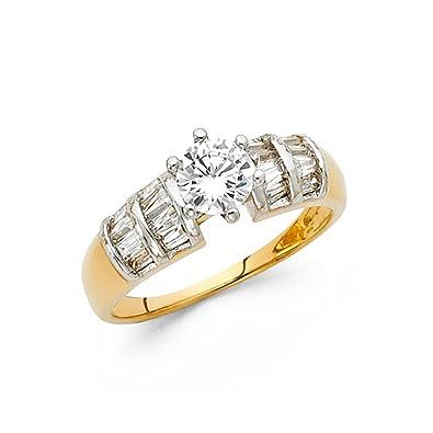 36f958ce5def Paradise Jewelers Ladies 5 mm 14 K Sólido Oro Amarillo Zirconia cúbico con  Baguette Lado Piedras Anillo De Compromiso