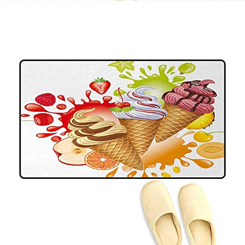 - Doormat,Various Flavors Tasty Summer Dessert with Peach Apricot Strawberry Sorbet Print,Floor Mat Bath Mat for Tub,Multicolor,Size:20