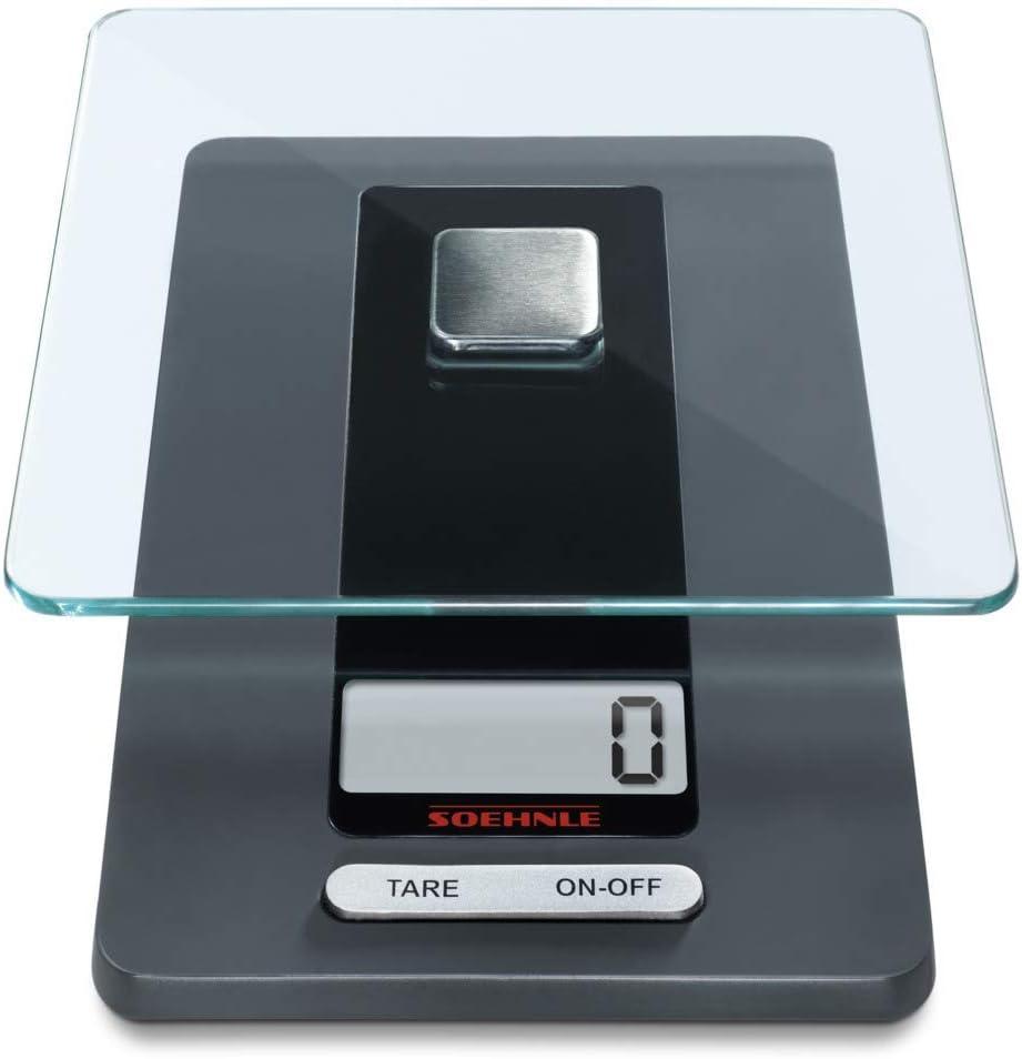 Soehnle Fiesta Báscula de cocina con gran pantalla LCD, peso digital con función de tara, balanza electrónica con precisión desde 1 g