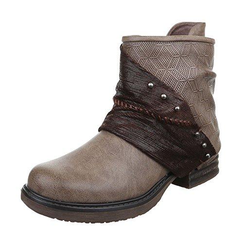 Ital-Design - botas estilo motero Mujer marrón y gris