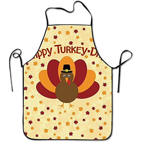 (Unisex Happy Tukey Day Thanksgiving Turkey Apron For Women And Men 100% Polyester Durable Comfortable Bib Chef Kitchen Aprons)