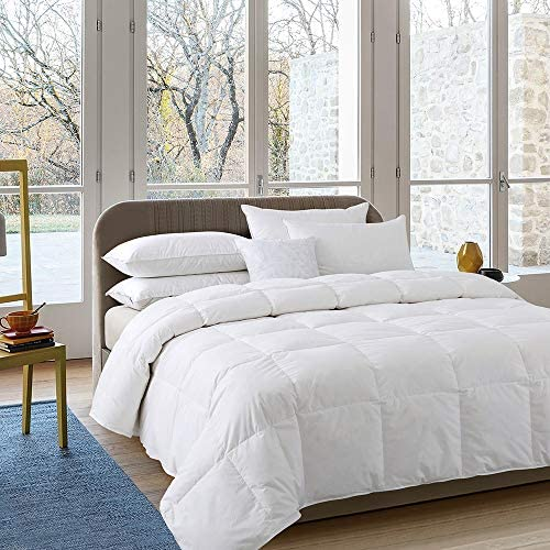Cosybay 100% Cotton Quilted Down Comforter White Goose Duck Down and Feather Filling – Heavyweight Duvet Insert or Stand-Alone Comforter for Winter Extra Warm – Queen Size (90×90 Inch)