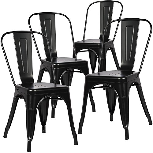 POLY BARK Trattoria Side Chair in Black Set of 4