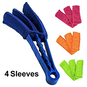 Microfiber Blind Duster, SENHAI Set of Cleaner Brush for Window Shutters Vent Air Conditioner, Dust Collector Cleaning Cloth Tool, With 2 Extra Microfiber Sleeves