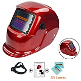 Welding Helmet Mask Solar Powered Auto Darkening Hood with Adjustable Shade Range 9-13/Rest Din 4 Ideal for Mig Tig Arc Welder Protection 5Pcs Free Lens (Red)