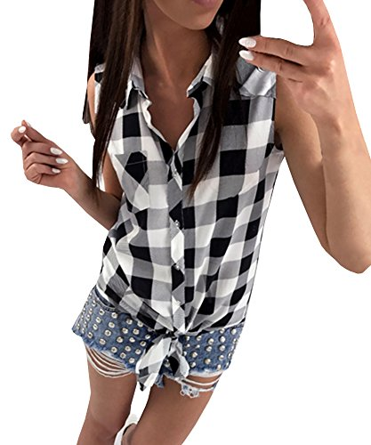 Beautife Womens Sleeveless Shirts Pocket Plaid Casual Button Down Tie Knot Tops