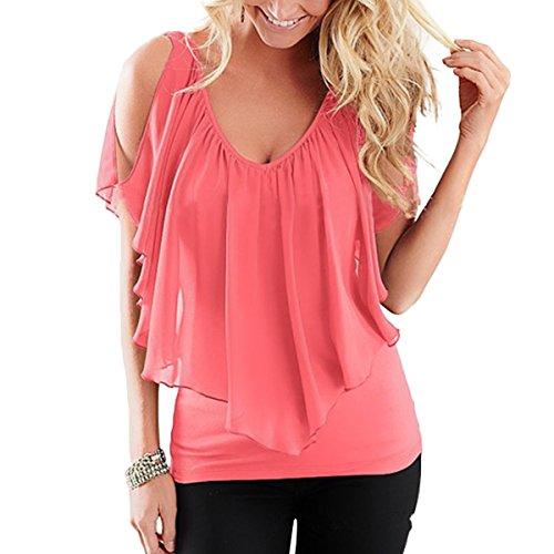 QHDZ Camiseta de chifón de hombro frío Mujer Camisa de chifón de manga larga con volados de soplo de las blusas Blusa de mujer de moda: Amazon.es: Ropa y ...