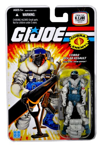Hasbro Year 2008 G.I. Joe Cartoon Series 4 Inch Tall Action Figure - Cobra Polar Assault SNOW SERPENT with Backpack, Assault Rifle, Rocket Launcher w/ Bipod, Snowshoes, Fur Shoulderpads and - Serpent Year The Of