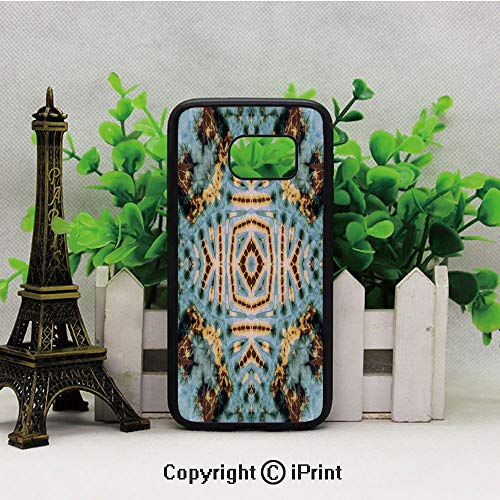 Close Hippie Motif with Maya Clan Figures Dirt Tones Counter Culture Print Samsung Galaxy S7 Case with Artistic Black Soft TPU and PC Protection Anti-Slippery Case for Samsung S7 Yellow Blue ()