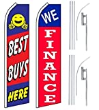Car Auto Dealer Swooper Flutter Feather Flags & Poles 2 Pack-Best Buy-We Finance
