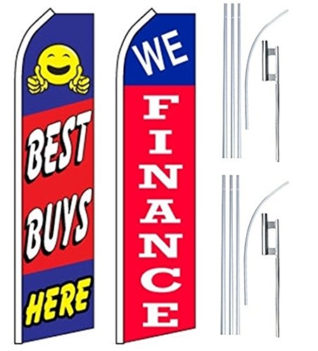 Car Auto Dealer Swooper Flutter Feather Flags & Poles 2 Pack-Best Buy-We Finance by Mission Flags