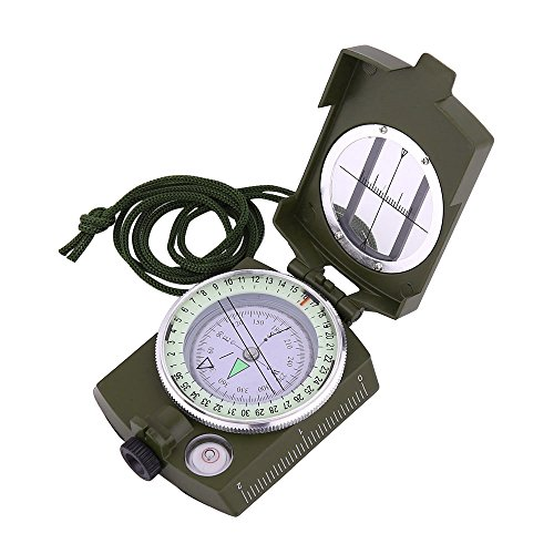 Sportneer Military Lensatic Sighting Compass with Carrying Bag, Waterproof and Shakeproof, Army (Directional Compass)