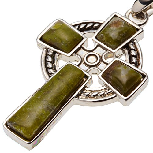 Connemara Marble Cross (Celtic Cross with Irish Connemara Green Marble Pendant Rhodium Plated Base Metal with 18
