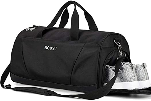 B2-Black Waterproof Travel Bag Duffel Bag with Shoes Compartment and Wet Pocket 30L ZOORON Sports Gym Bag for Men and Women