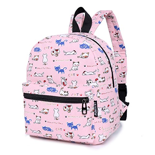 Lightweight Canvas Mini Backpack for Women, Teens (Cat Pink Small -
