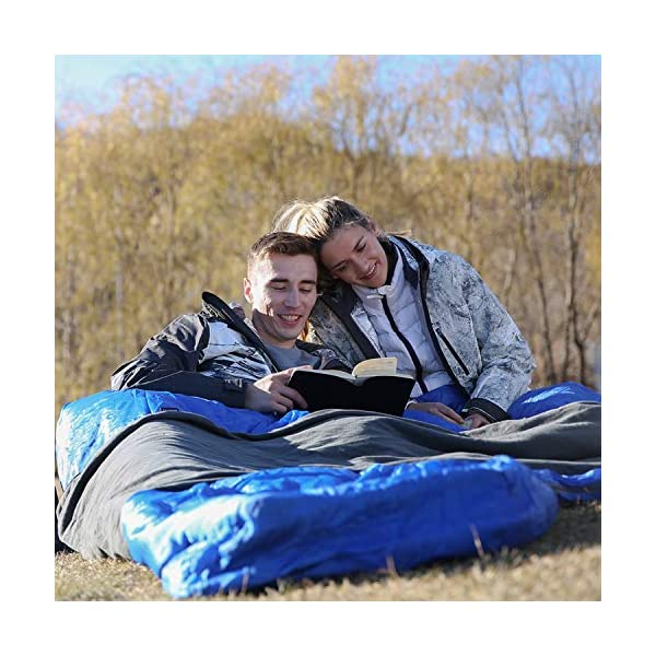 KingCamp Envelope Sleeping Bag 3 Season Spliced Adult Portable Lightweight Comfort with Compression Sack for Adults Kids Camping Backpack Temp Rating 44F 9