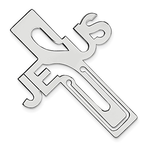 925 Sterling Silver Rhodium-plated Jesus Religious Cross Bookmark