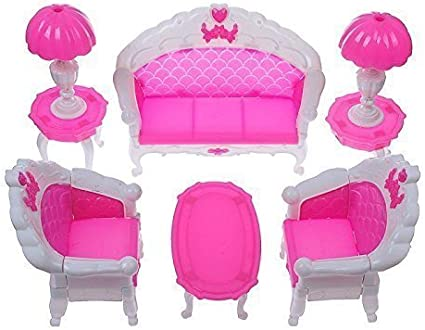 Amazon Com Qiyun 7pcs Fashion Dressing Table And Chair Set For Barbies Dolls Bedroom Furniture Toys Games