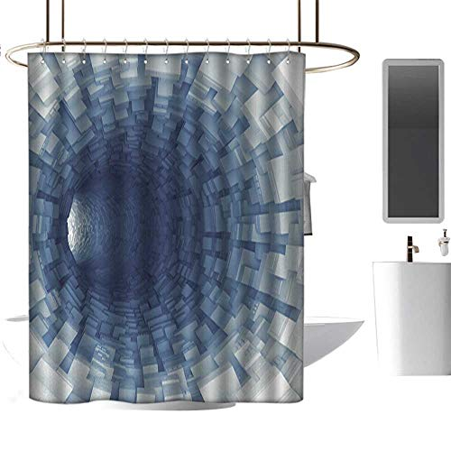 (HjkDecor Shower Curtains Set Outer Space,Endless Tunnel with Fractal Square Shaped Segment Digital Dimension Artwork Print,Gray 36