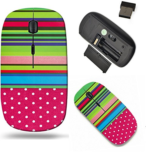 Liili Wireless Mouse Travel 2.4G Wireless Mice with USB Receiver, Click with 1000 DPI for notebook, pc, laptop, computer, mac book colorful stripe border red polka dot fabric Image ID ()