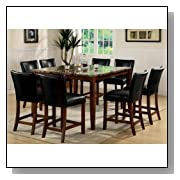 9pc Counter Height Dining Table & Stools Set Cherry Finish