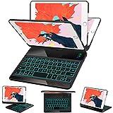 iPad Mini 5 Mini 4 Keyboard Case - 7 Colors Backlit 360 Rotate 180 Flip Wireless Smart Folio Auto Sleep Wake Hard Cover fit iPad Mini 5 2019(5th Gen) iPad Mini 4 2015 - Black