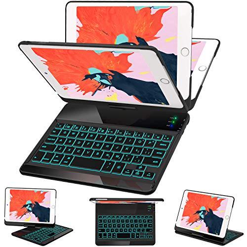 iPad Mini 5/ Mini 4 Keyboard Case - 7 Colors Backlit 360 Rotate 180 Flip Wireless Smart Folio Auto Sleep/Wake Hard Cover fit iPad Mini 5 2019(5th Gen)/ iPad Mini 4 2015, Black (Keyboard 4 Ipad Cover)