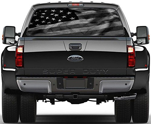 Decal Truck - Black & White American Flag Rear Window Decal Sticker Car Truck SUV Van 778, Large