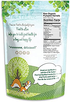 Pepitas/Semillas de calabaza orgánicas de Food to Live (Crudas, sin cascara) (4 Pounds)