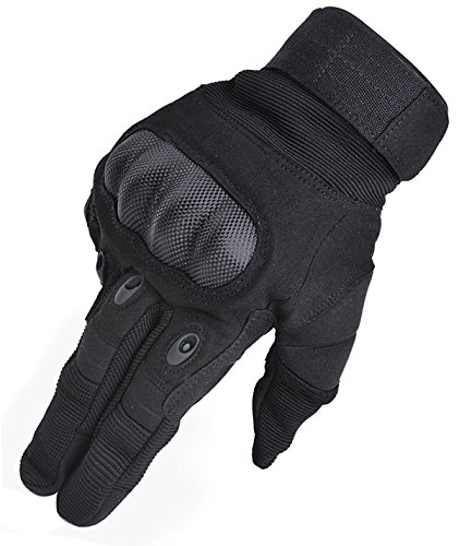 Coofit Taktische Handschuhe Winter Motorrad Handschuhe Herren Vollfinger Army Gloves Biking Skifahre Handschuhe (Schwarz, L)