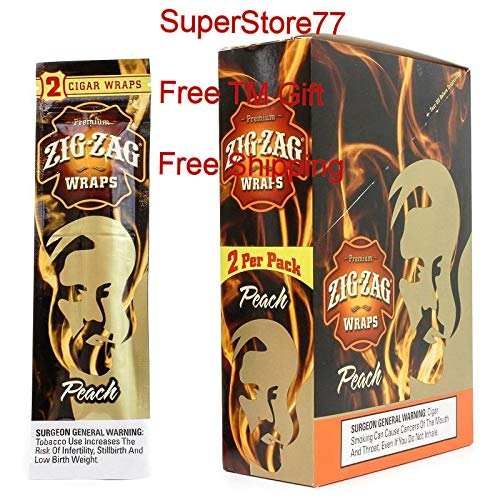 Blunt Peach - SuperStore77 Zig Zag Paper 2 Boxes Peach 50 Pouches of 2 Paper Total of 100 Wraps Free SuperStore77 Gift Grinder