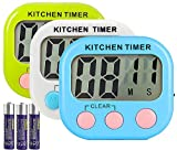 lcd digital timer - Great Polly 3 Pack Digital Kitchen Timer Cooking Timers Clock with Alarm Magnetic Back and Stand, Minute Second Count Up Countdown, Large LCD Display Batteries Included