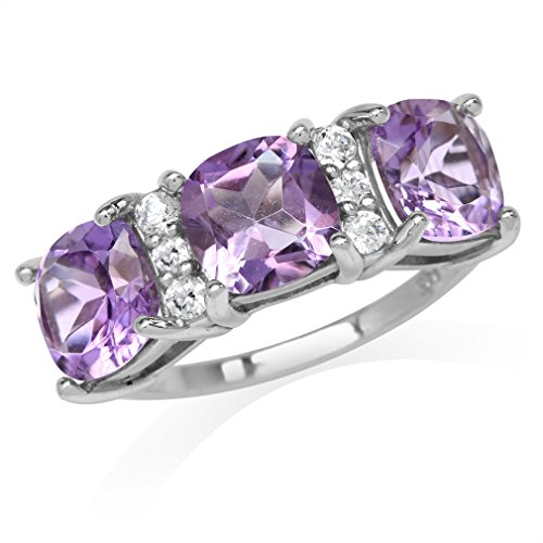 4.08ct. 3-Stone Natural Cushion Shape Amethyst White Gold Plated 925 Sterling Silver Ring Size 8