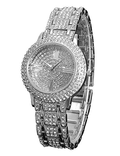 Zeiger Women Bling Jewelry Plated Classic Round Ladies Dress Wrist Watch, Fine Crystal Charm Bracelet (Roman Outfits For Womens)