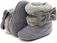 puseky Baby Girls Fleece Booties Bowknot Soft Sole Warm Snow Winter Boots Non-Slip First Walker Shoes