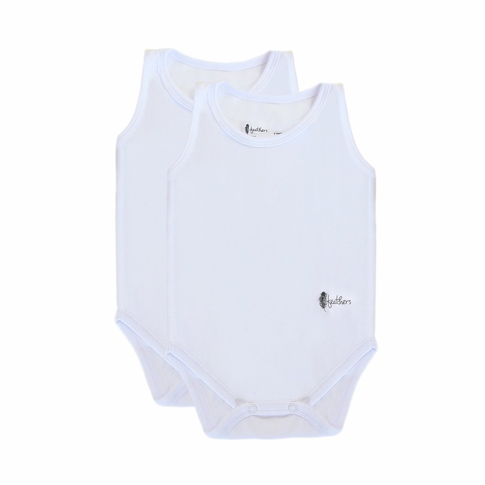 Feathers Baby Solid White 100% Cotton Super Soft Onesies Undershirt 2-Pack
