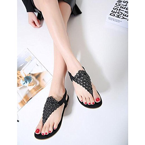 Minetom Mujer Verano Elegante T-Correa Sandalias Clip dedo del pie Chanclas Bohemia Beaded Diamante De Imitación Zapatos Zapatillas Negro