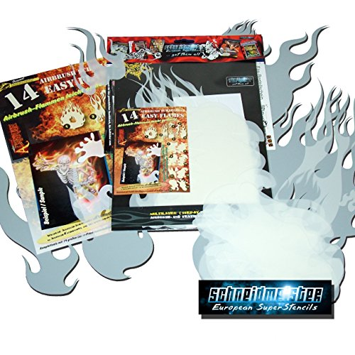 genuine SCHNEIDMEISTER Airbrush EZ -Flames vol.01 (Size -LARGE-), HQ Set of 14 laser cut Stencils Templates for making real true and realistic Flames and Fire