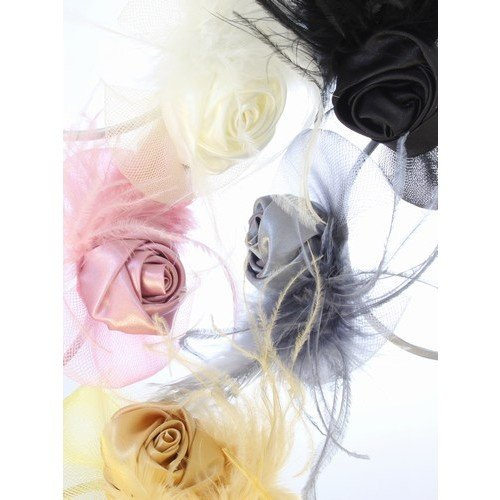 Narrow satin aliceband with satin rosebud and net and feather detail in Gold