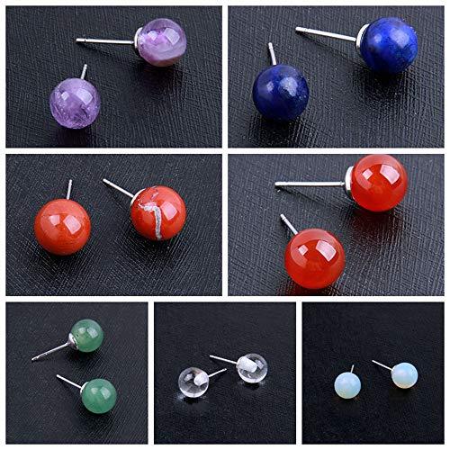 ZAMTAC Amethyst Quartz Crystal Aventurine Stone Jasper Carved Sphere Ball Shaped Earrings Sold by 1Pair 2019 - (Color: Red Jasper) - Jasper Quartz Earrings