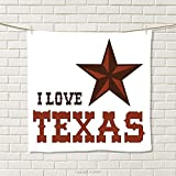 smallbeefly Texas Star Hand Towel Western Culture Motifs with a Quote About Southwest of United States Quick-Dry Towels Dark Brown and Brown Size: W 20'' x L 20''