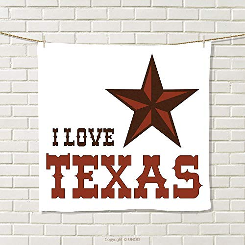 smallbeefly Texas Star Hand Towel Western Culture Motifs with a Quote About Southwest of United States Quick-Dry Towels Dark Brown and Brown Size: W 20'' x L 20'' by smallbeefly