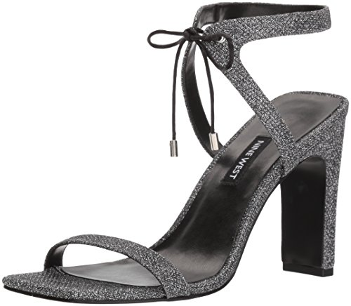 Nine West Women's LONGITANO Heeled Sandal, Black/Silver Fabric, 10.5 M US (Footwear Silver Fabric)