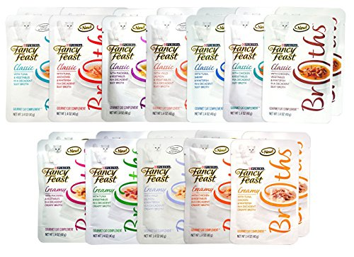 Fancy Feast Gourmet Broths Variety Pack (24 Pouches) for Cats – 12 Different Flavors – 1.4 Oz Each (2 of Each Flavor – 24 Total Pouches)