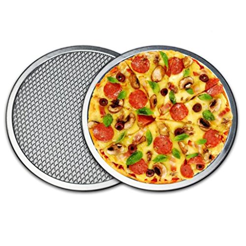 B Blesiya 16'' Pizza Screen Aluminium Seamless Rim Pizza Mesh Round Oven Bake Tray Set of 2 by B Blesiya